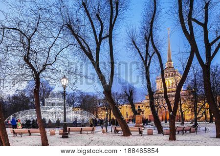 AINT PETERSBURG, RUSSIA - January 2, 2017, 2017:  Admiralty and Alexander Garden in the center of St. Petersburg, night Christmas illumination