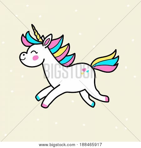 White vector unicorn patch with rainbow mane and horn. Running unicorn isolated on background.