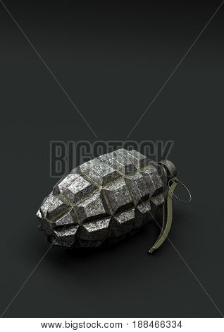 Hand Grenade with copy space on dark background 3d illustration