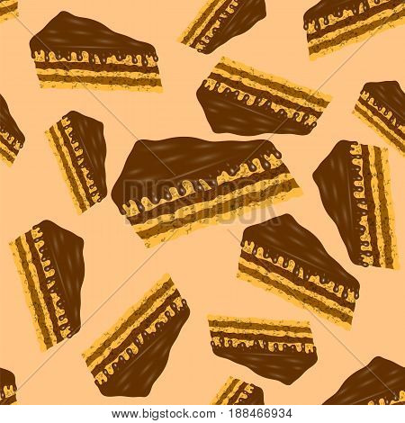 Sweet Chocolate Cake Seamless Pattern on Orange Background