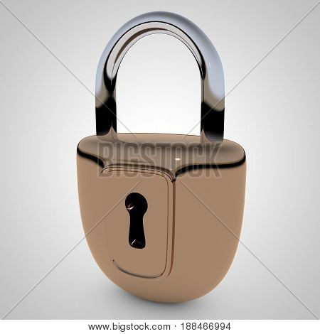 Locked metal padlock. 3D rendering. Digital generated image