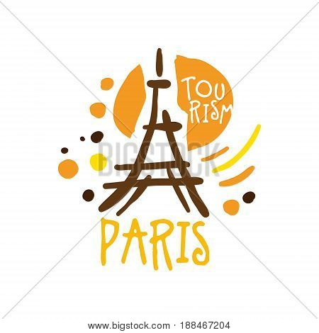 Paris tourism logo template hand drawn vector Illustration for travel agency,