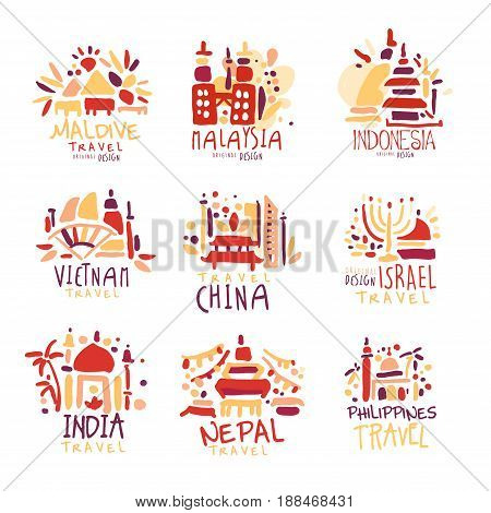 Maldives, Malaysia, Indonesia, Vietnam, China, Israel, India, Nepal, Filipinos set of colorful promo signs. Summer travel hand drawn vector Illustrations for travel agency