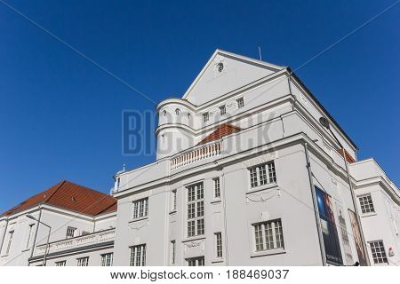 MINDEN, GERMANY - MAY 22, 2017: White building of the city Theater in Minden, Germany