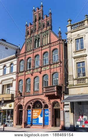 MINDEN, GERMANY - MAY 22, 2017: Historic house at the market square of Minden, Germany