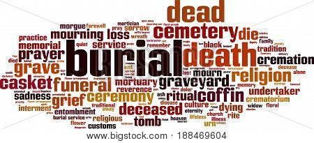Burial word cloud concept. Vector illustration on white