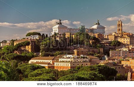 View on Capitol Hill at sunset in summer, Rome, Italy