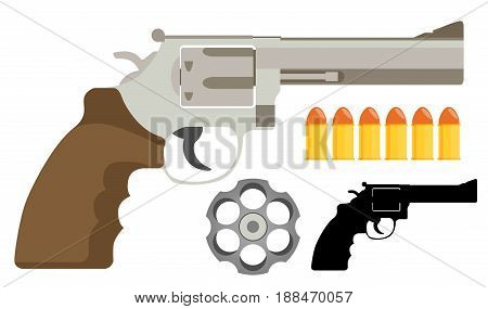 Gun revolver icon flat vector illustration isolated