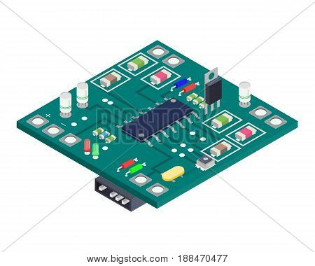 Electronic board isometric composition.Technology Equipment Device Concept. Vector illustration