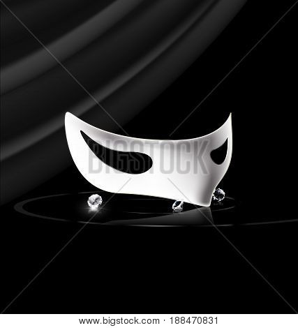 dark background, velum and carnival white half mask with crystals