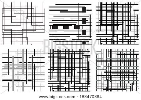 Vector seamless pattern set with repeating squares. Regular hipster background. Minimalistic ornament