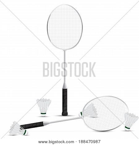 Set of two Badminton rackets and four shuttlecocks with white background. vector . illustration. graphic design.