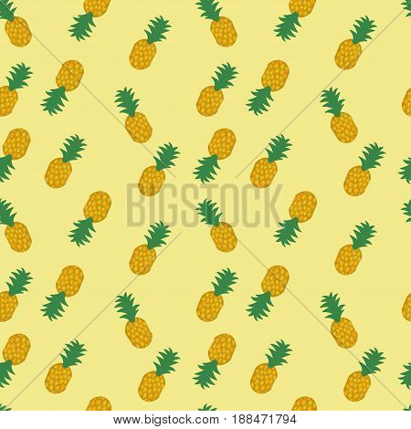 Seamless pineapple pattern on white background. Pineapple isolated on white background