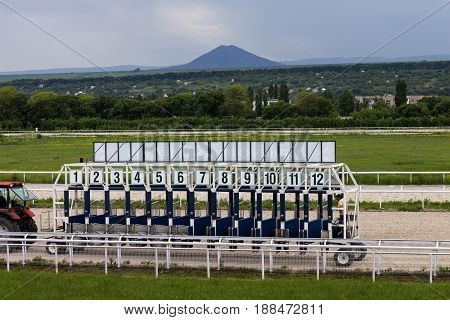 PYATIGORSK,RUSSIA - MAY 282017 : Horse racing starting gate in Pyatigorsk,the largest in Russia on May 28,2017.