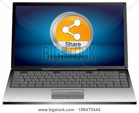 Laptop computer with orange Share Button - 3D illustration