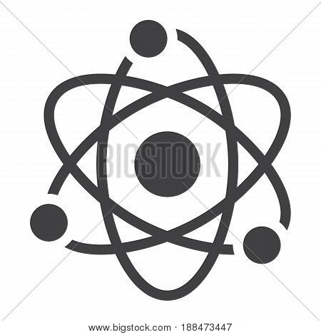 Atom solid icon, Education and physics, vector graphics, a filled pattern on a white background, eps 10.