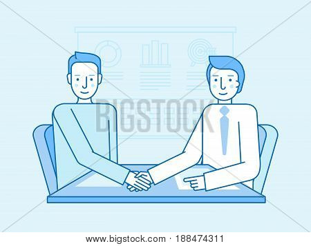 Vector Illustration In Flat Linear Style And Blue Colors - Business Partnership And Cooperation
