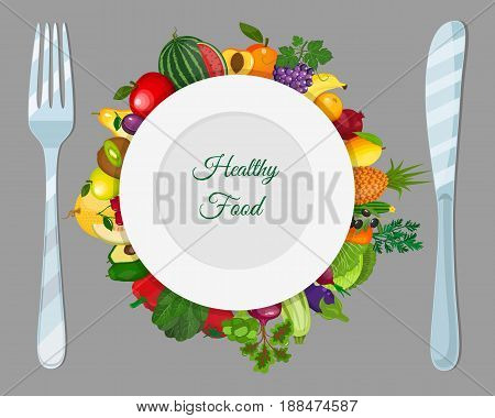 Fresh organic food.Set of fruits and vegetables. Vector vegetarian organic healthy food cuisine. organic natural realistic fruits. Veggie Lover Elements