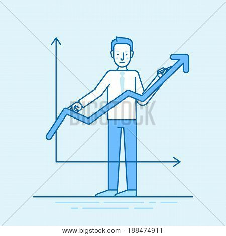 Vector Illustration In Trendy Flat Linear Style In Blue Colour - Man Drawing Graphic - Business Deve