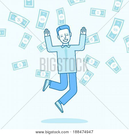 Vector Illustration In Trendy Flat Linear Style In Blue Colour - Happy Man Winning Money Lottery