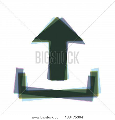 Upload sign illustration. Vector. Colorful icon shaked with vertical axis at white background. Isolated.