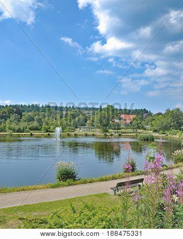 Lake Kranichsee in Health Resort of Hahnenklee in Harz mountain,lower Saxony,Germany