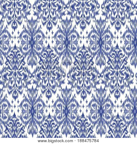 Blue Ikat Ogee and Damascus ornament Seamless Background Pattern In the style of the Tapestry. Abstract background for textile design, wallpaper, surface textures