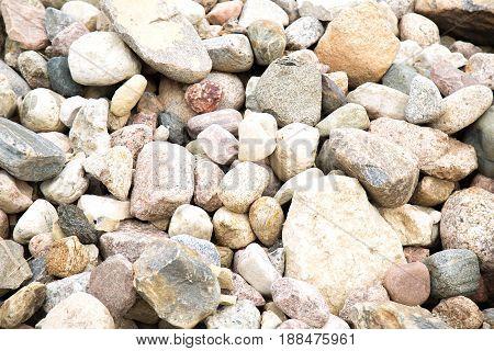 Stones background. Diferent size stones background. Texture