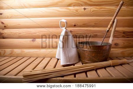 Accessories for  bath and sauna on a wooden sauna