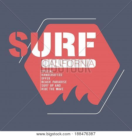 Surfing california typography for t-shirt print. T-shirt graphics. Vector