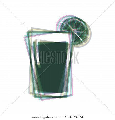 Glass of juice icons. Vector. Colorful icon shaked with vertical axis at white background. Isolated.