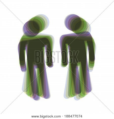 Gay family sign. Vector. Colorful icon shaked with vertical axis at white background. Isolated.