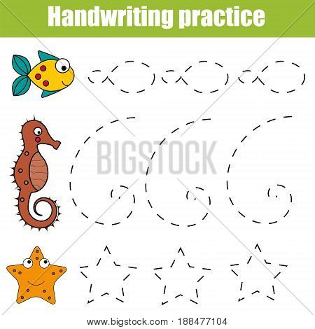 Handwriting practice sheet. Educational children game restore the dashed line. Writing training printable worksheet with with shapes and sea animals