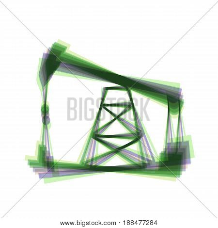 Oil drilling rig sign. Vector. Colorful icon shaked with vertical axis at white background. Isolated.