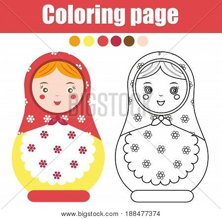 Coloring page with cute russian nesting doll. Children educational game drawing activity. Color matreshka . Printable worksheet