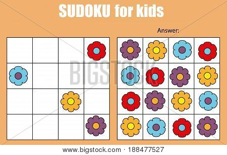 Sudoku game for children with pictures. Kids activity sheet. Training logic educational game