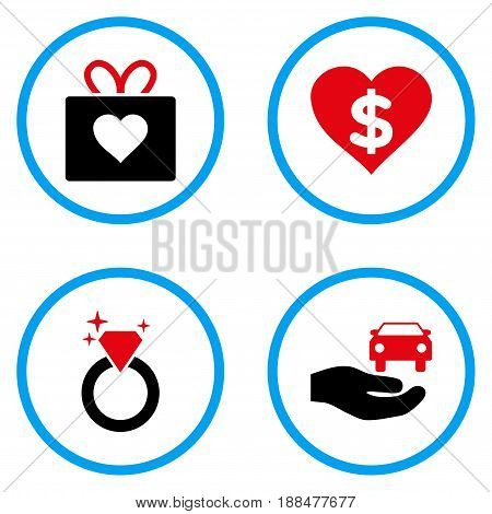 Gift rounded icons. Vector illustration style is a flat iconic symbols inside blue circles. Designed for web and software interfaces.