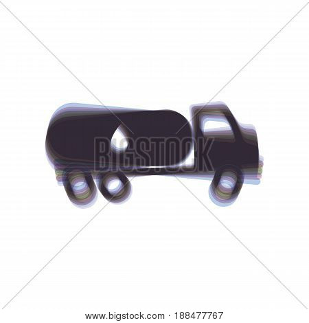 Car transports Oil sign. Vector. Colorful icon shaked with vertical axis at white background. Isolated.
