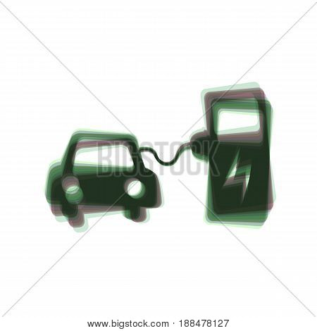 Electric car battery charging sign. Vector. Colorful icon shaked with vertical axis at white background. Isolated.