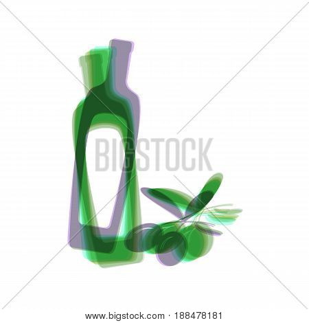 Black olives branch with olive oil bottle sign. Vector. Colorful icon shaked with vertical axis at white background. Isolated.