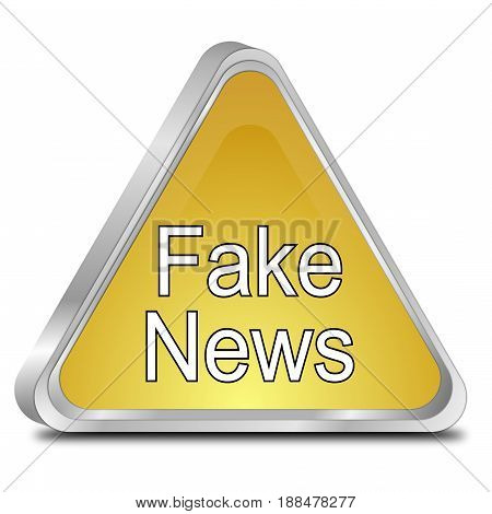 golden Fake News warning sign - 3D illustration