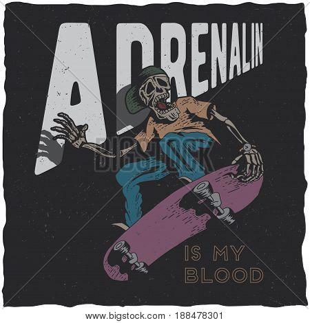 Skateboard t-shirt label design with illustration of skeleton playing skateboard. Hand drawn illustration.