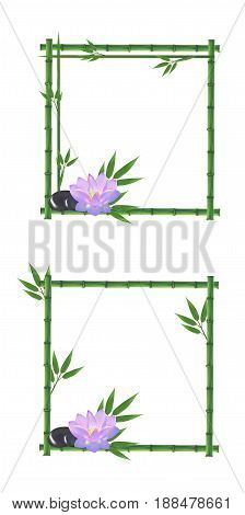 Vector bamboo illustration, pink lotus, bamboo pricing, bamboo leaves.