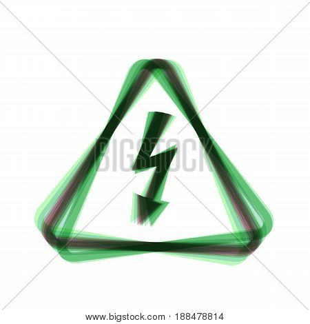 High voltage danger sign. Vector. Colorful icon shaked with vertical axis at white background. Isolated.
