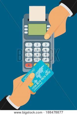 pay merchant hands credit card flat vector illustration