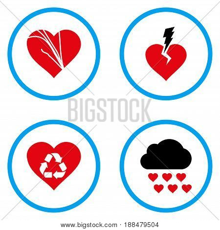 Love Troubles rounded icons. Vector illustration style is a flat iconic symbols inside blue circles. Designed for web and software interfaces.