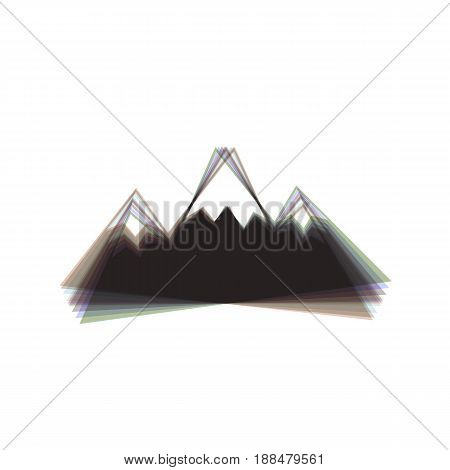 Mountain sign illustration. Vector. Colorful icon shaked with vertical axis at white background. Isolated.