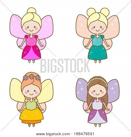 Cute kawaii fairies characters. Winged pixie princess in beautiful dresses. Cartoon style girls kids stickers children illustration scrapbook elements