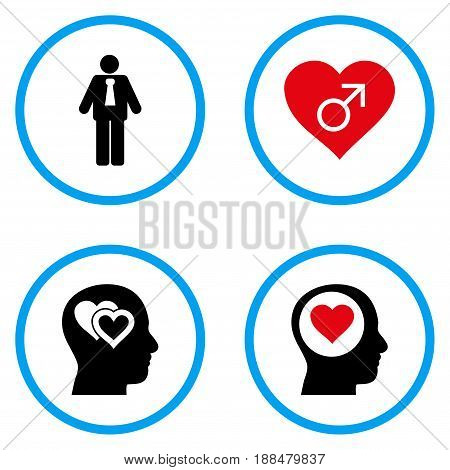 Male Love rounded icons. Vector illustration style is a flat iconic symbols inside blue circles. Designed for web and software interfaces.