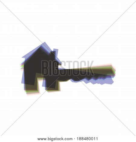 Home Key sign. Vector. Colorful icon shaked with vertical axis at white background. Isolated.